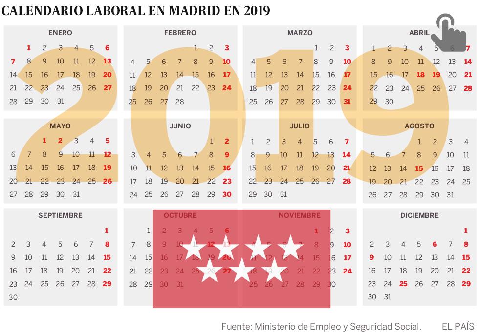 Calendario laboral para el año 2019 con dos puentes
